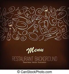 menu, restaurant, vecteur, design.