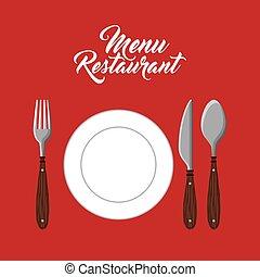 menu restaurant with cutlery set