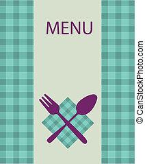 menu restaurante, -2, desenho, utensílio, tabela