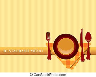 menu restaurante, desenho, vetorial