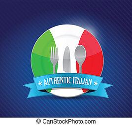 menu restaurante, ilustração, tradicional, italiano