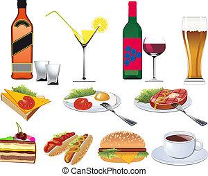 menu, restaurante, jogo, ícones