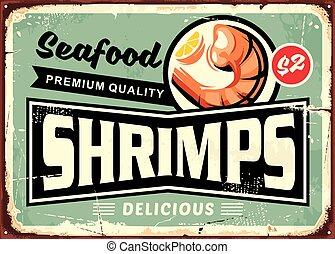 menu restaurante, marisco, sinal, desenho, gostosa, camarões