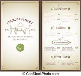 menu restaurante, modelo