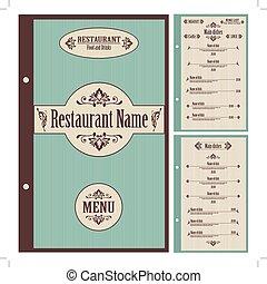 menu restaurante, -, vetorial, desenho, modelo