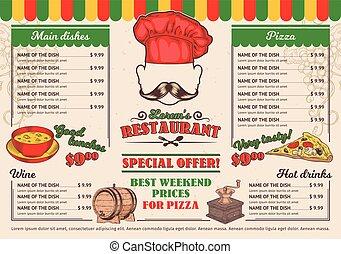 menu restaurante, vetorial, ilustrações, café, italiano