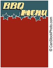 menu, retro, bbq