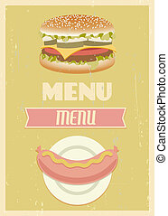 menu, retro, komplet