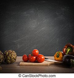 menu, ricetta, o, lavagna