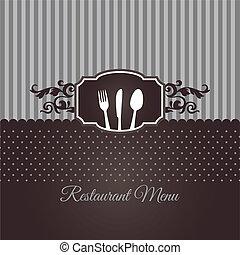 menu ristorante, coperchio, in, marrone