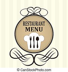 menu, ristorante, disegno