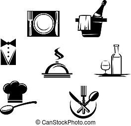 menu, ristorante, elementi, icone