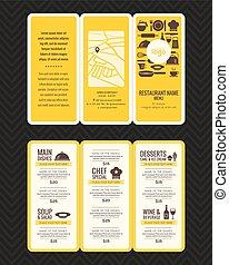 menu ristorante, moderno, opuscolo, disegno, sagoma