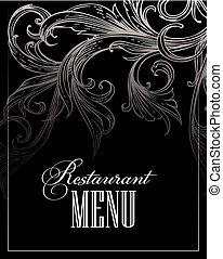 menu, ristorante, vettore, illustrazione, design.