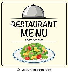 menu, salade, restaurant