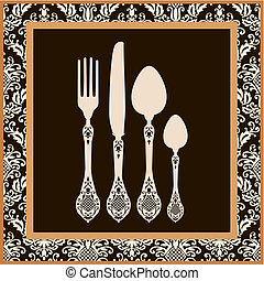 menu, scheda, disegno, con, coltelleria