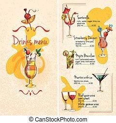 menu, schets, bar