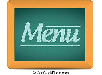 menu, scritto, messaggio, lavagna, illustrazione