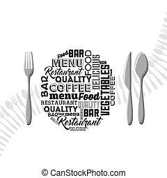 menu, set, coltelleria, ristorante