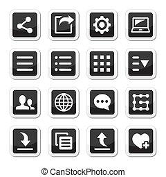 menu, set, gereedschap, instellingen, iconen