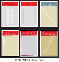 menu, set, stabilimento, casuale, cenando