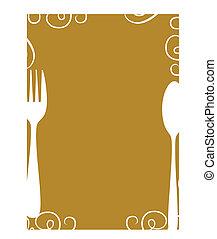 menu, side, skabelon, blank
