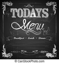 menu, skriv, chalkboard