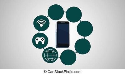 menu, smartphone, animation, applications