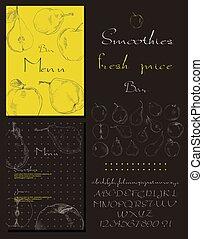 menu, smoothies, frais, barre, jus