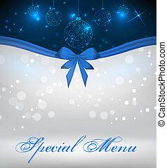menu, spécial, noël, fond