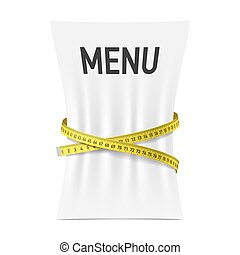 Menu squeezed by measuring tape
