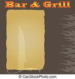 menu, steakhouse, fondo