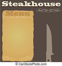 menu, steakhouse, fondo