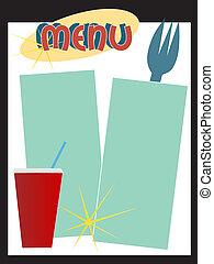 menu, styl, retro, diner