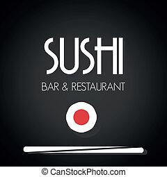 menu, sushi, cartão, restaurante