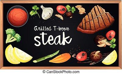 menu, tableau noir, bifteck, élément