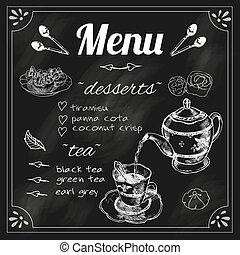 menu, tableau noir, théière, teacup
