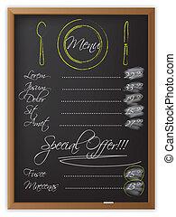 menu, tableau noir