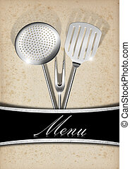 Menu Template - Old Paper and Metal - Yellowed old paper ...