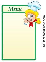Menu template with cartoon chef woman