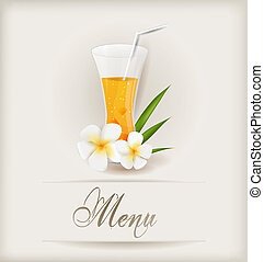 Menu template with glass of orange juice and flowers