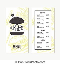 Menu template with sketched fast food elements. Hand drawn background