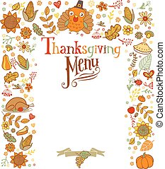 menu, thanksgiving, carte