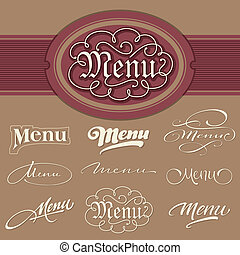 menu, titoli, set, (vector)
