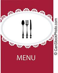 menu, ustensile, conception, table, restaurant