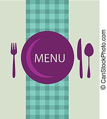 menu, utensílio, desenho, tabela, restaurante