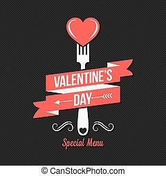 menu, valentines, desenho, dia, experiência.