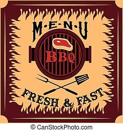 menu, vecteur, conception, barbecue, gabarit, carte