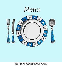 menu, vecteur, conception, carte, restaurant
