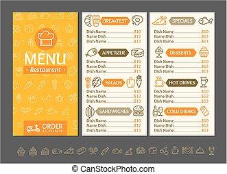 menu, vecteur, conception, template., restaurant